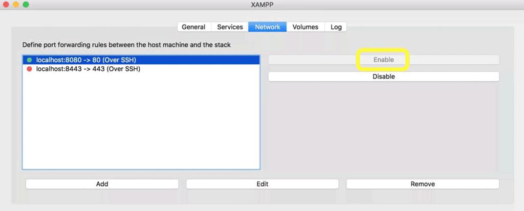aba network do xampp, onde podem ser configuradas as regras de encaminhamento entre a maquina host e o stack