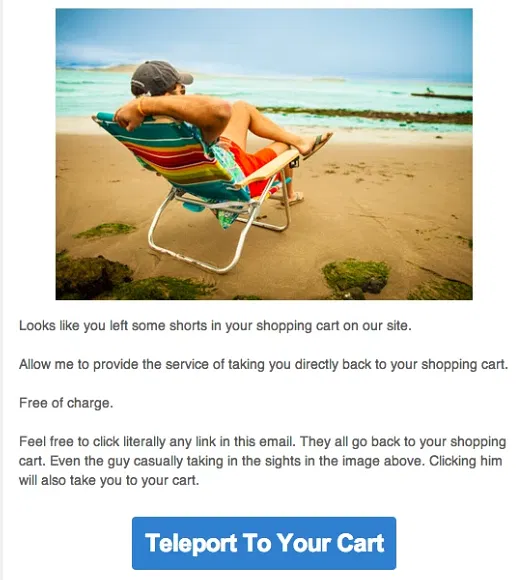 Another email example to get back the customer to cart.