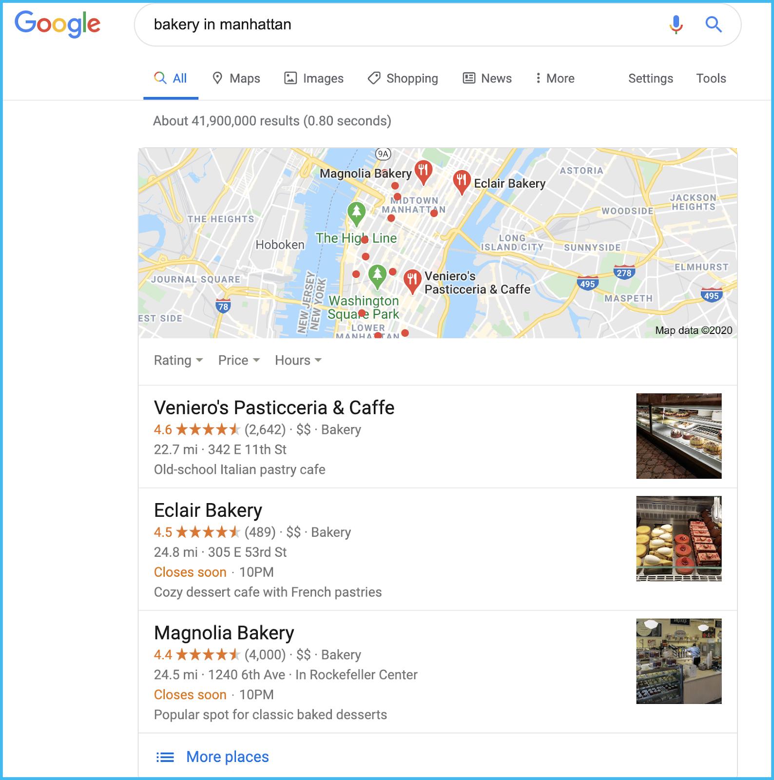 bakery google snack pack
