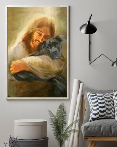Black Dog With Jesus Poster Christian Art Wall Decor - First Fathers Day Gifts