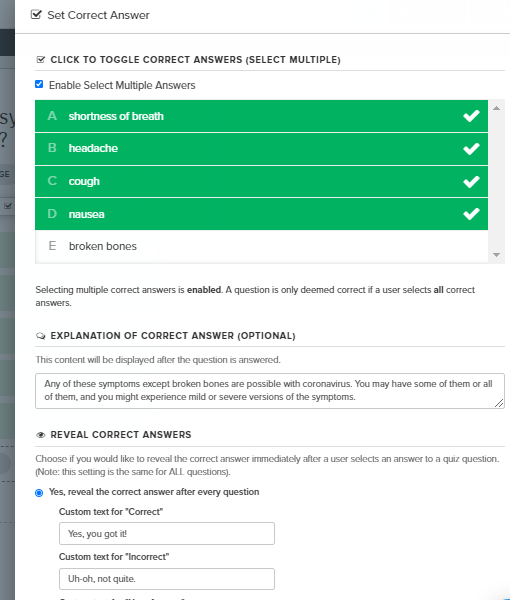 answer settings for quiz question