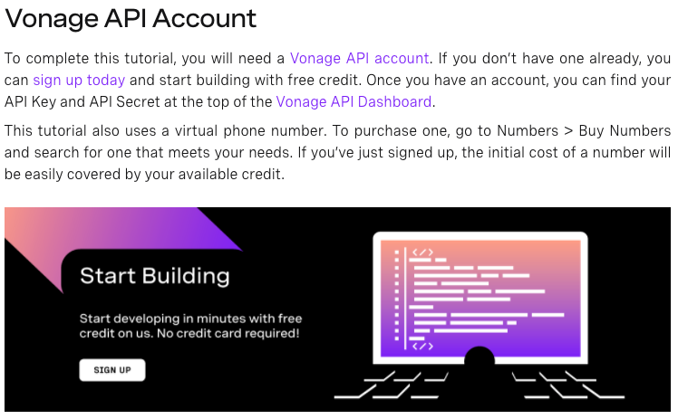 An image explaining that to complete this tutorial you need a VONAGE API Account and to purchase a virtual number