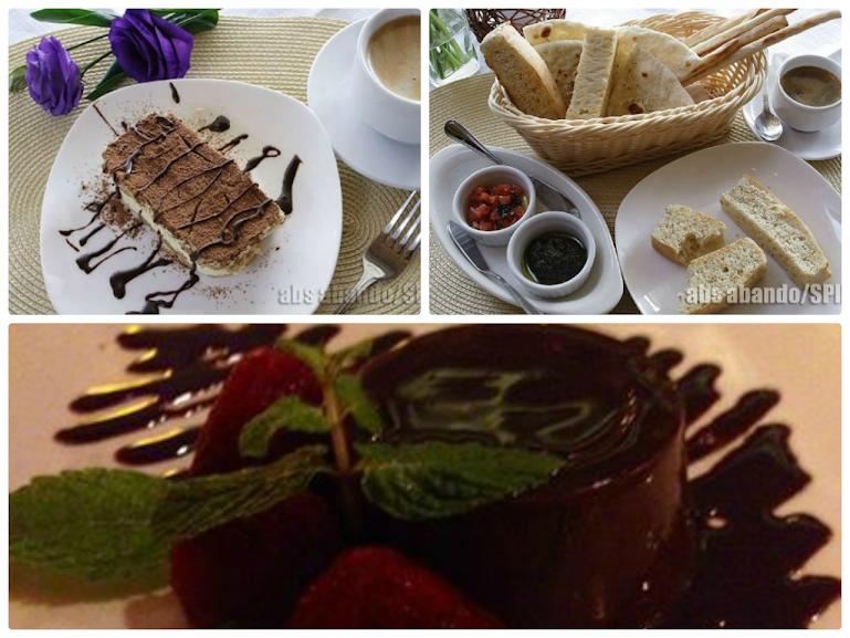 bvtiramisu, foccacia bread, panacotta chocolato