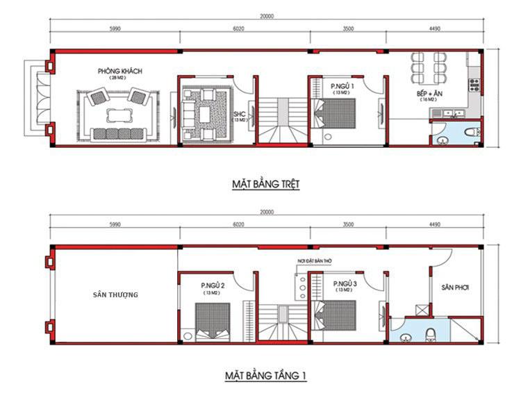 Mặt bằng tham khảo nhà 2 tầng 3 phòng ngủ (1 phòng ngủ ở tầng 1)