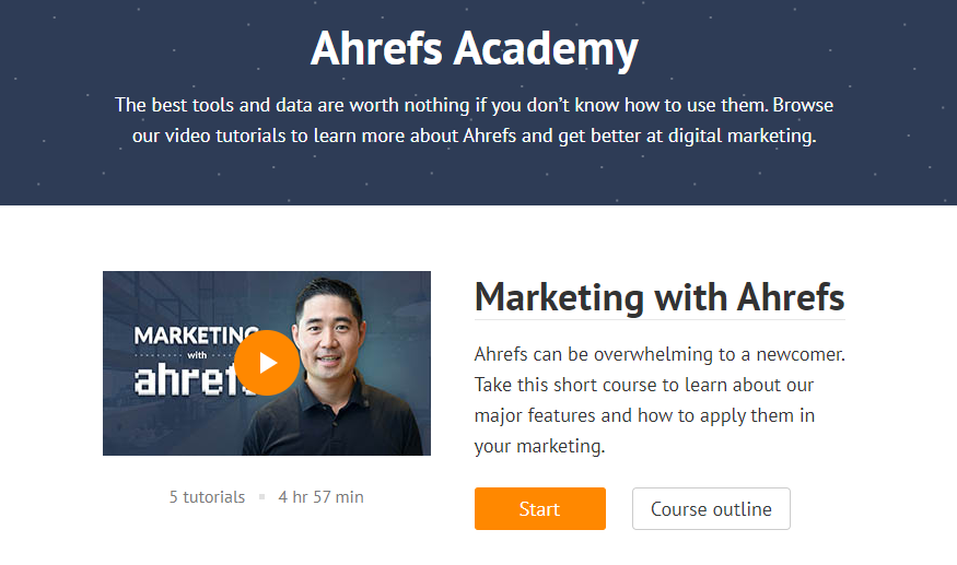 Image showing the Ahrefs Academy, video tutorials to learn how to use the platform for marketing and improve the customer journey