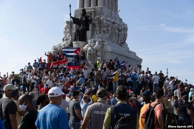 Проправительственный митинг в Гаване. 11 июля 2021 года