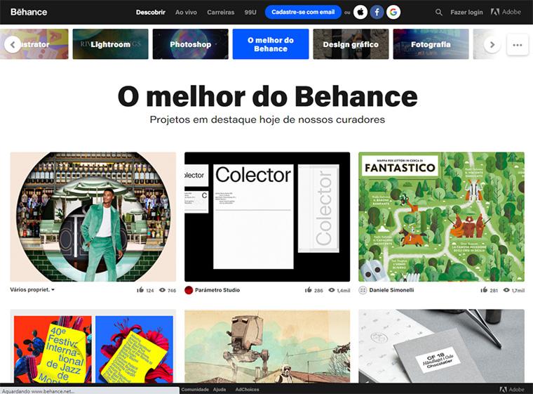 página inicial do behance