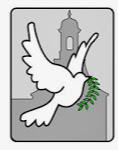 Grafik: Friedenstaube vor Unigebäude Bonn.