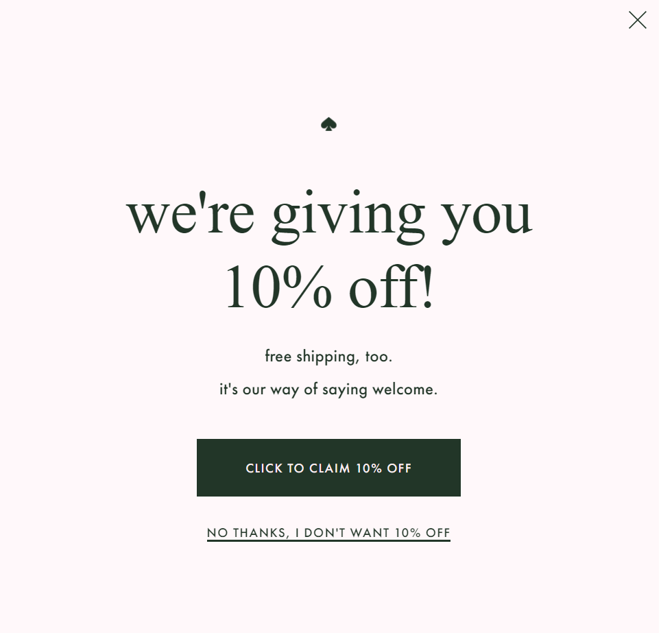 "A pink pop-up from Kate Spade offering 10% off and free shipping as their ""way of saying welcome""."