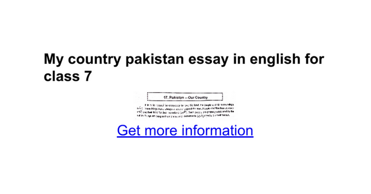 Essay About Student Life  Sample Essay Abstract also Tolerance Essay My Country Pakistan Essay In English For Class   Google Docs Essay On Gender Bias