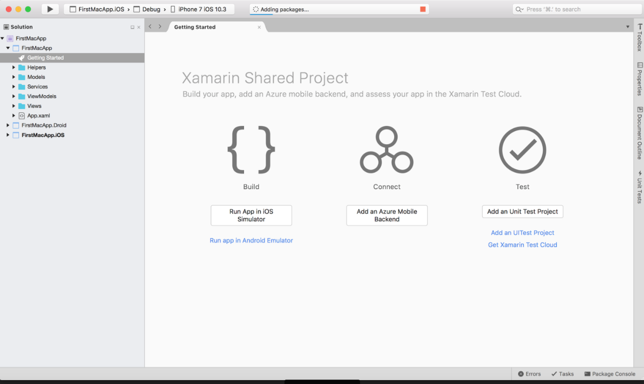 Create new xamarin forms application using visual studio for Xamarin studio code templates