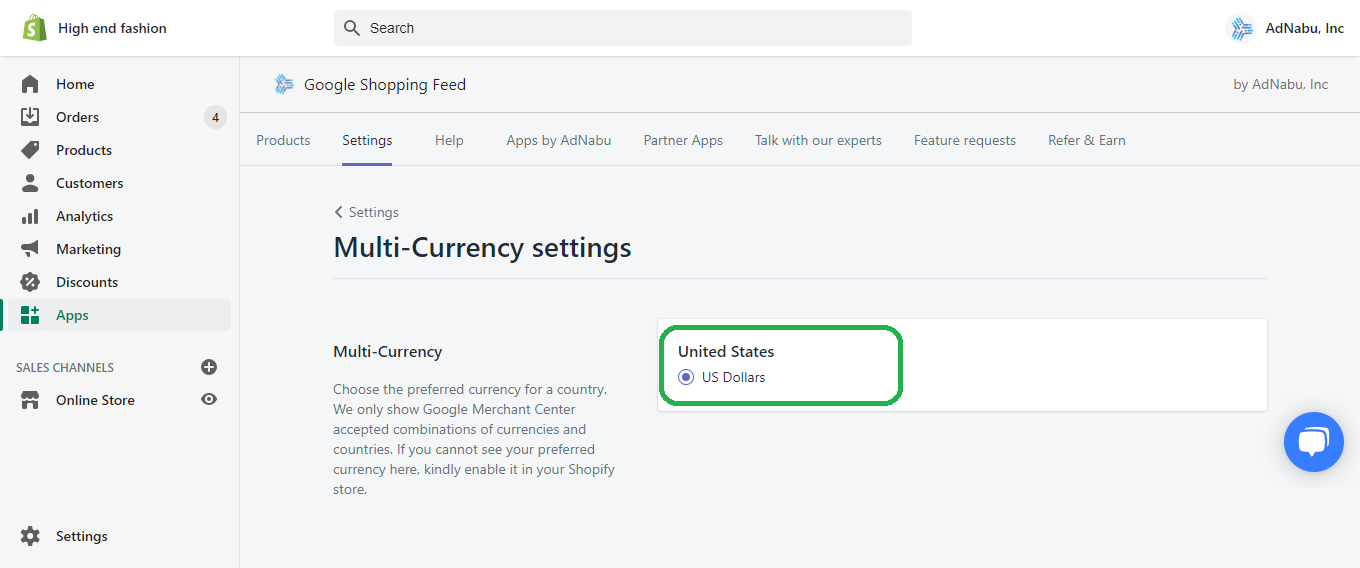 Select Country and Currency