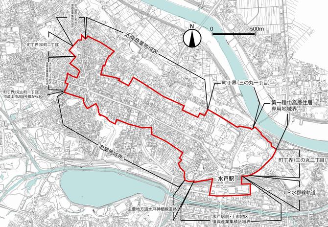 マップ上の赤線で囲われたエリアになります。