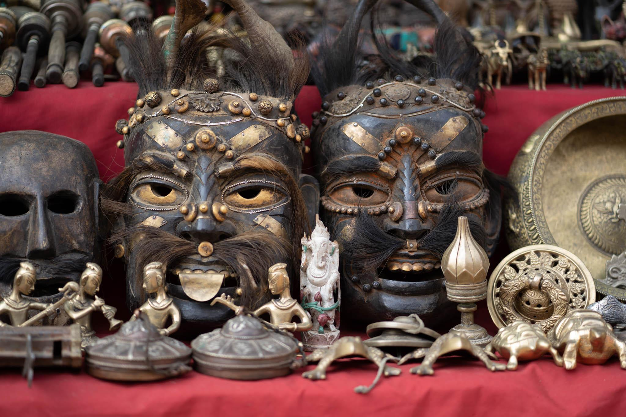 Masks and ornaments from a Nepalese shop