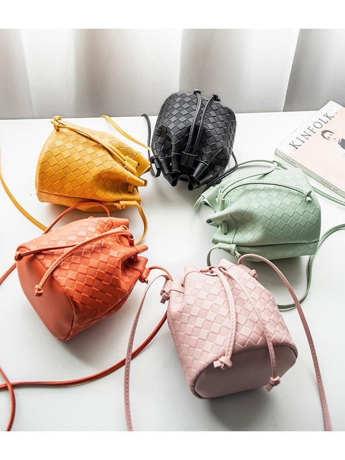 Solid Color Drawstring Skinny Belt Mini Buckle Bag