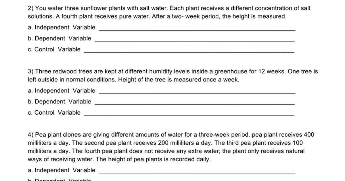 Identifying Variables Worksheet Google Docs – Independent and Dependent Variables Worksheet