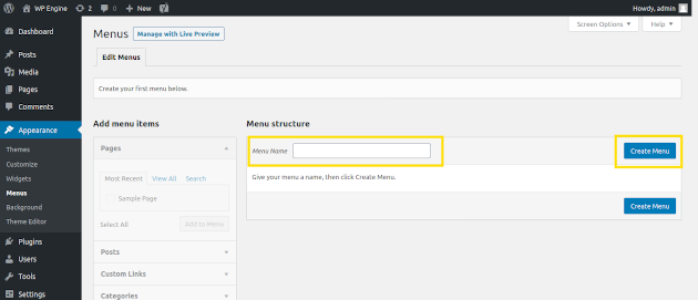 Screenshot of how to create menu items in WordPress
