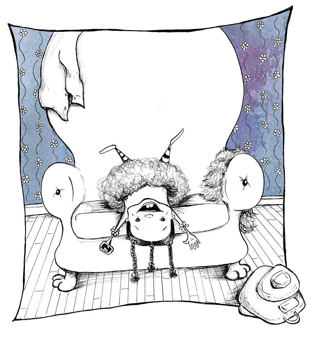 happy cartoon girl lays backward on big armchair with her arms over her head