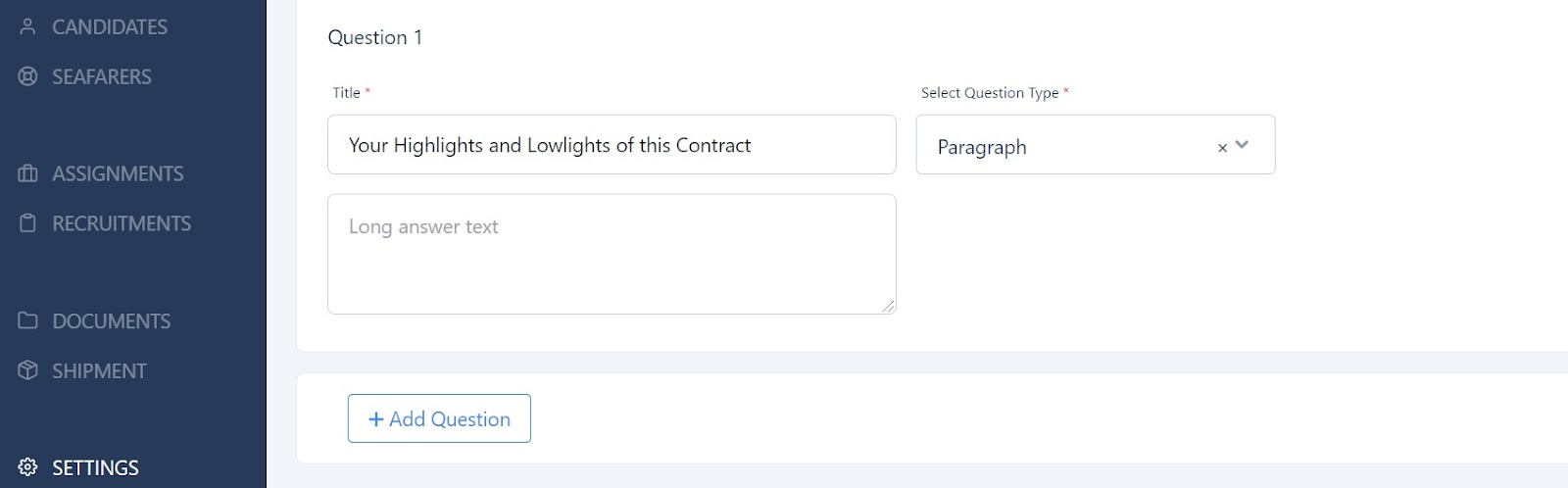screenshot of Martide's website showing a paragraph type question.