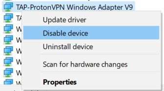 The Disable device option for network adapters