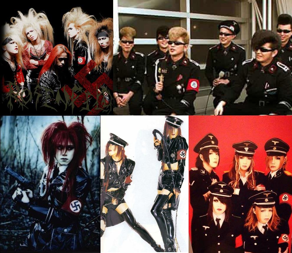 Grupos de visual kei como o Syndrome e o Kishidan tiveram suas histórias marcadas por polêmicas relacionadas a estética nazista.