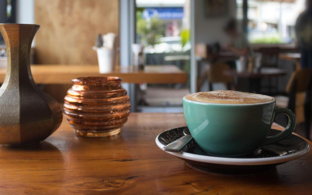 flat white on table