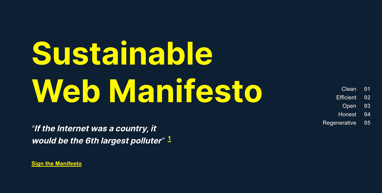 Screengrab of the Sustainable Web Manifesto front page.