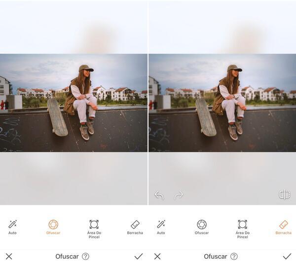 foto de uma menina skatista sentada na rampa com skate do lado sendo editada pelo airbrush
