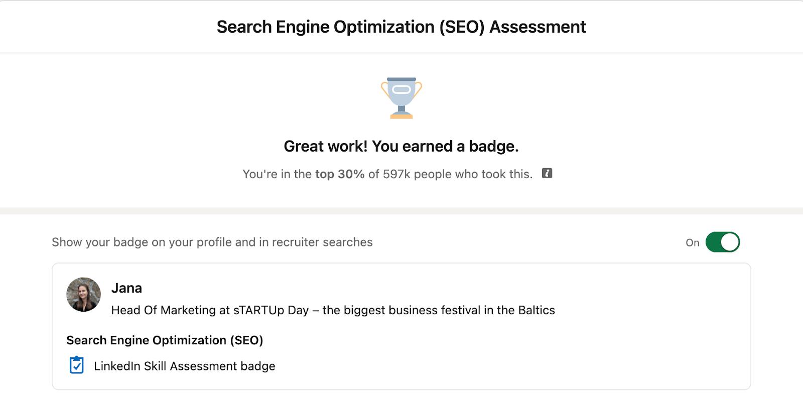 LinkedIn profile skill quiz
