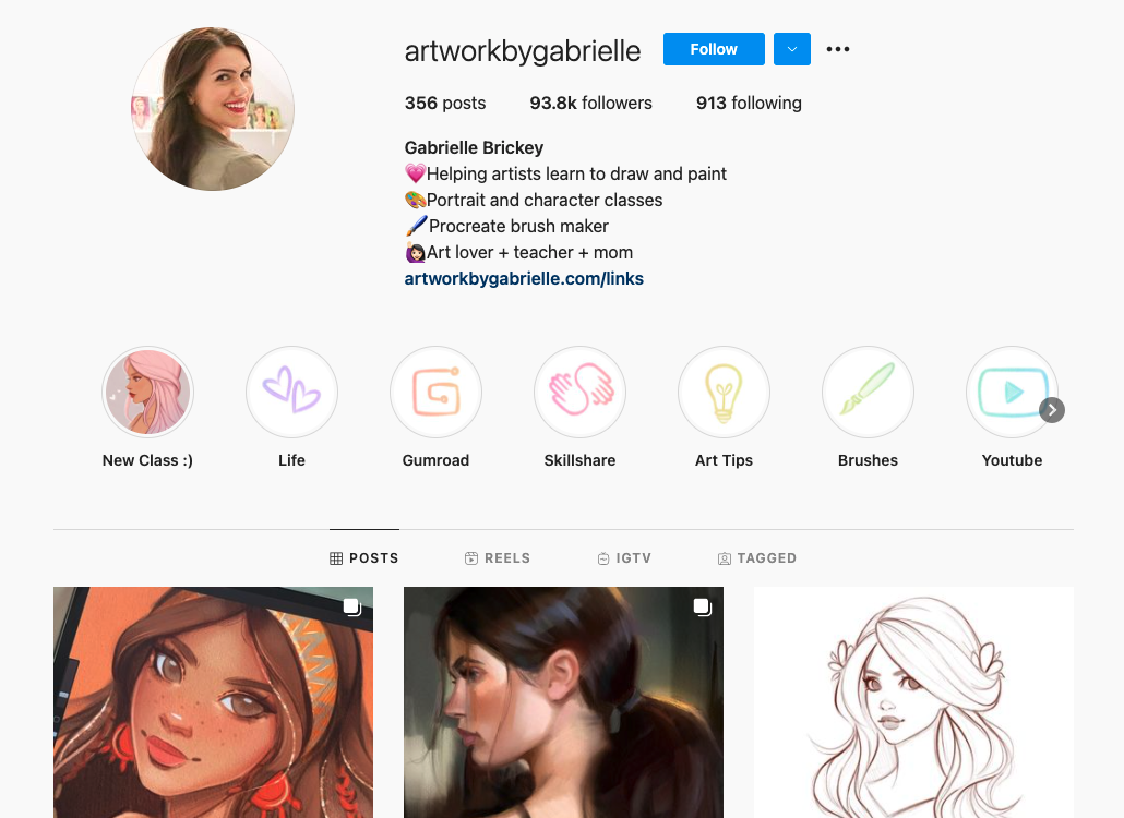 Screengrab of one of Top Teacher Gabrielle Brickey's Instagram page, where she posts new drawings as well as advertising her new classes. Image source: Instagram