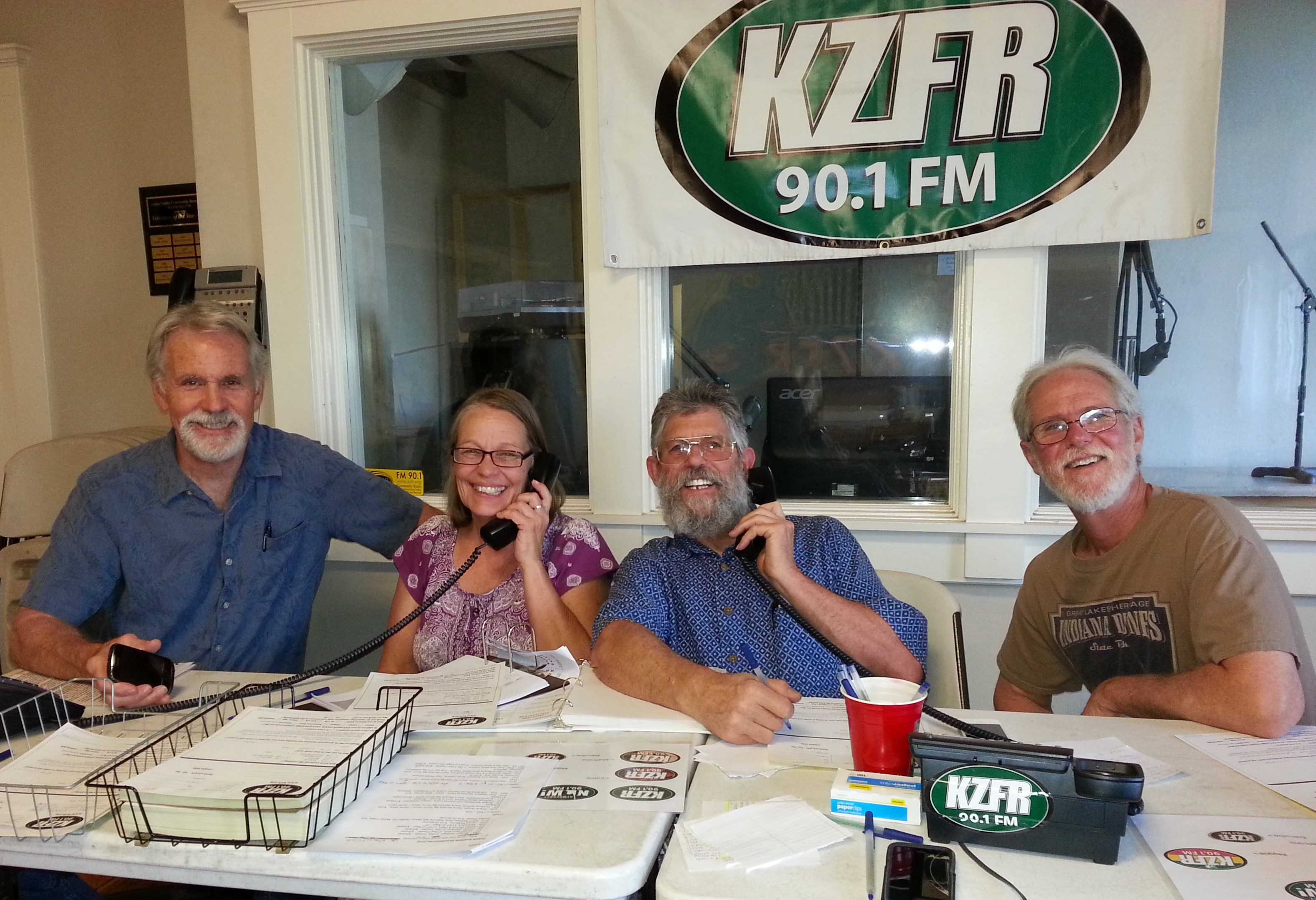 Great volunteers from the non-profit Norton Buffalo Hall/Paradise Grange having fun answering KZFR pledge drive phones. (Fall 2016)
