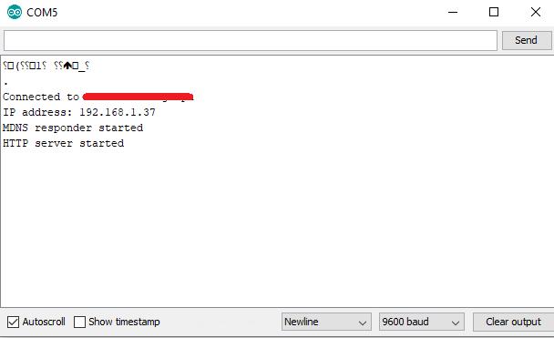 ESP32 web server running 1