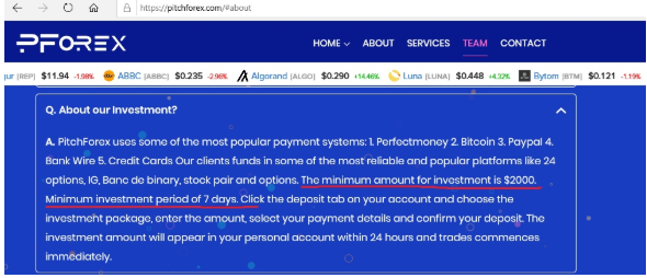 Screenshot of PitchForex's deposit conditions