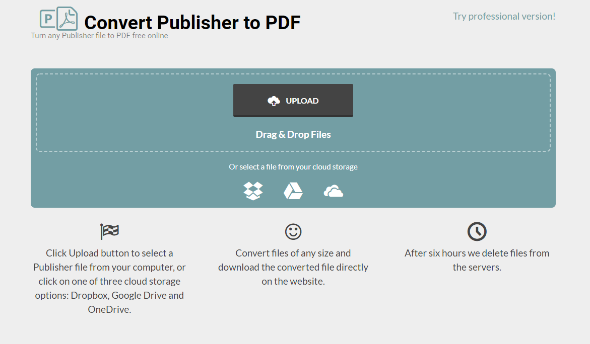Converting Publiisher to PDF using a free online converter