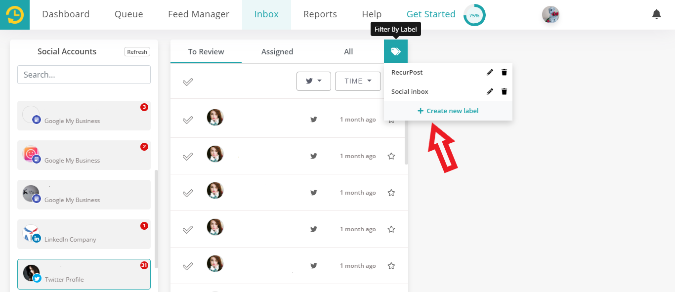 Label feature in social inbox by recurpost as best social media scheduling tool