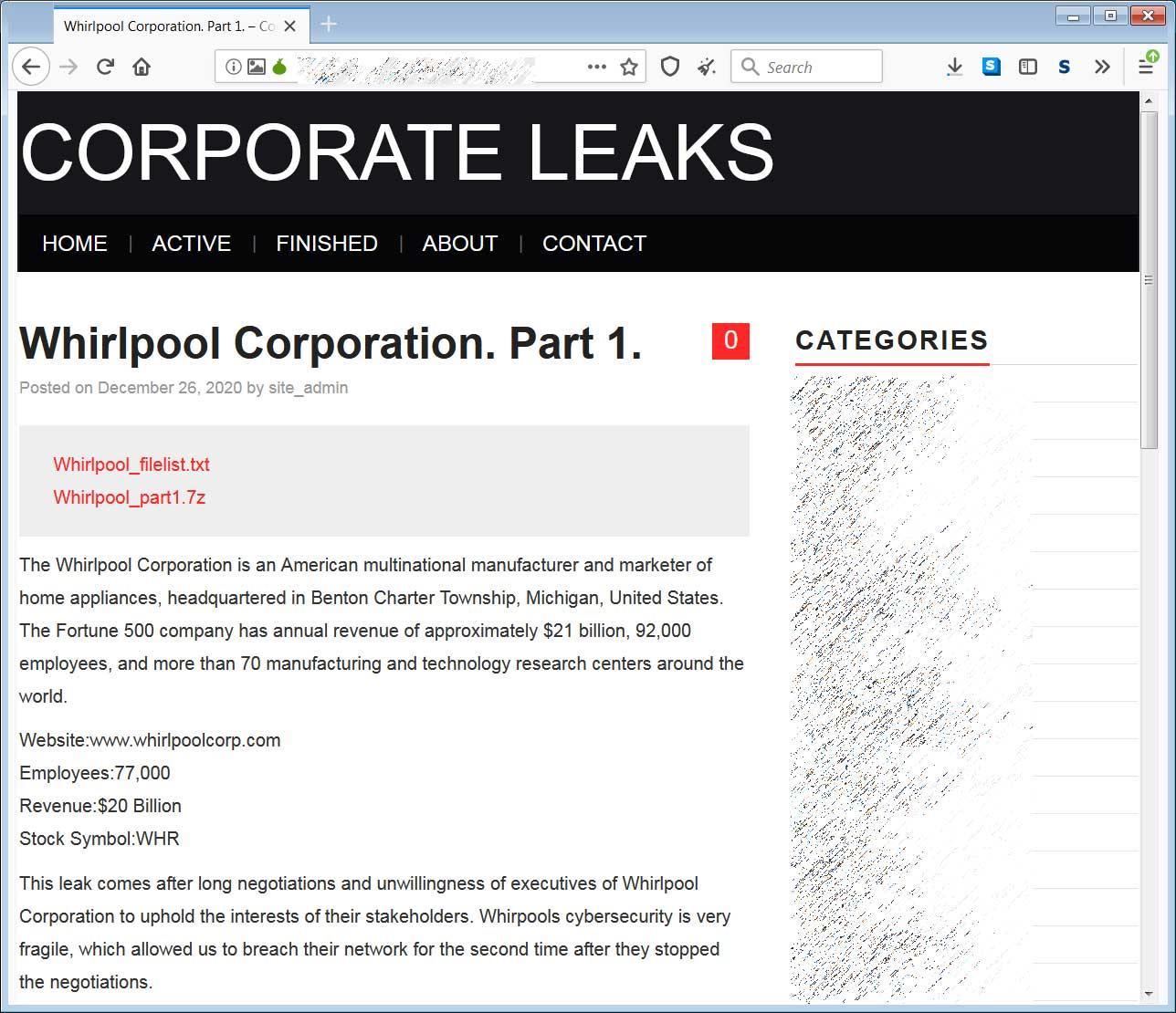 Fuga de datos de Whirlpool en el sitio de Nefilim