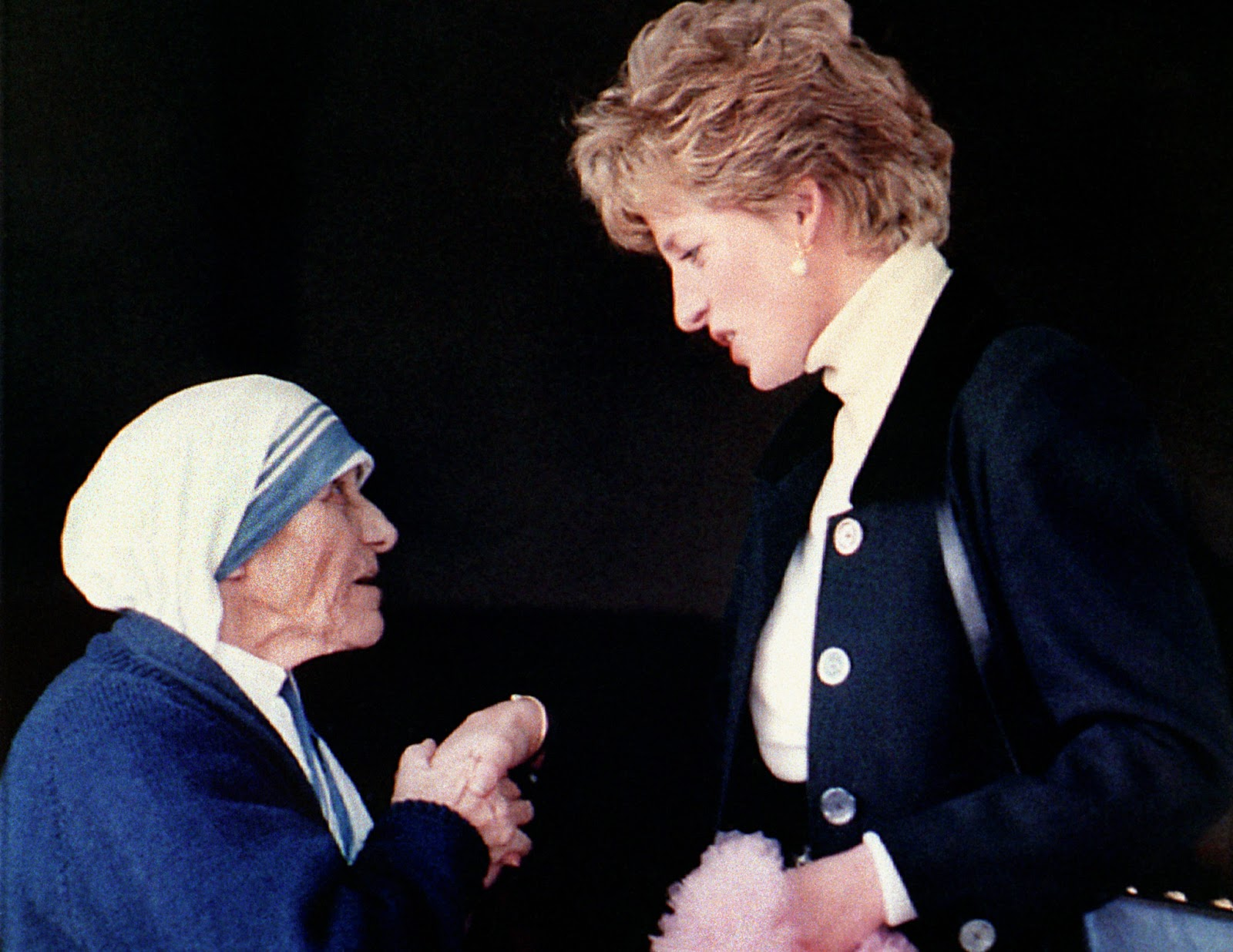 Princess of Wales meeting Mother Teresa in Rome.