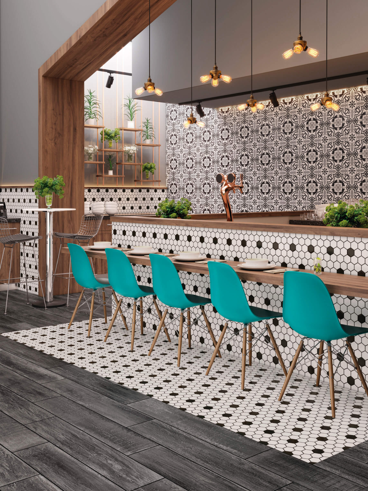 Retro black and white hexagon mosaic tile bar front and flooring