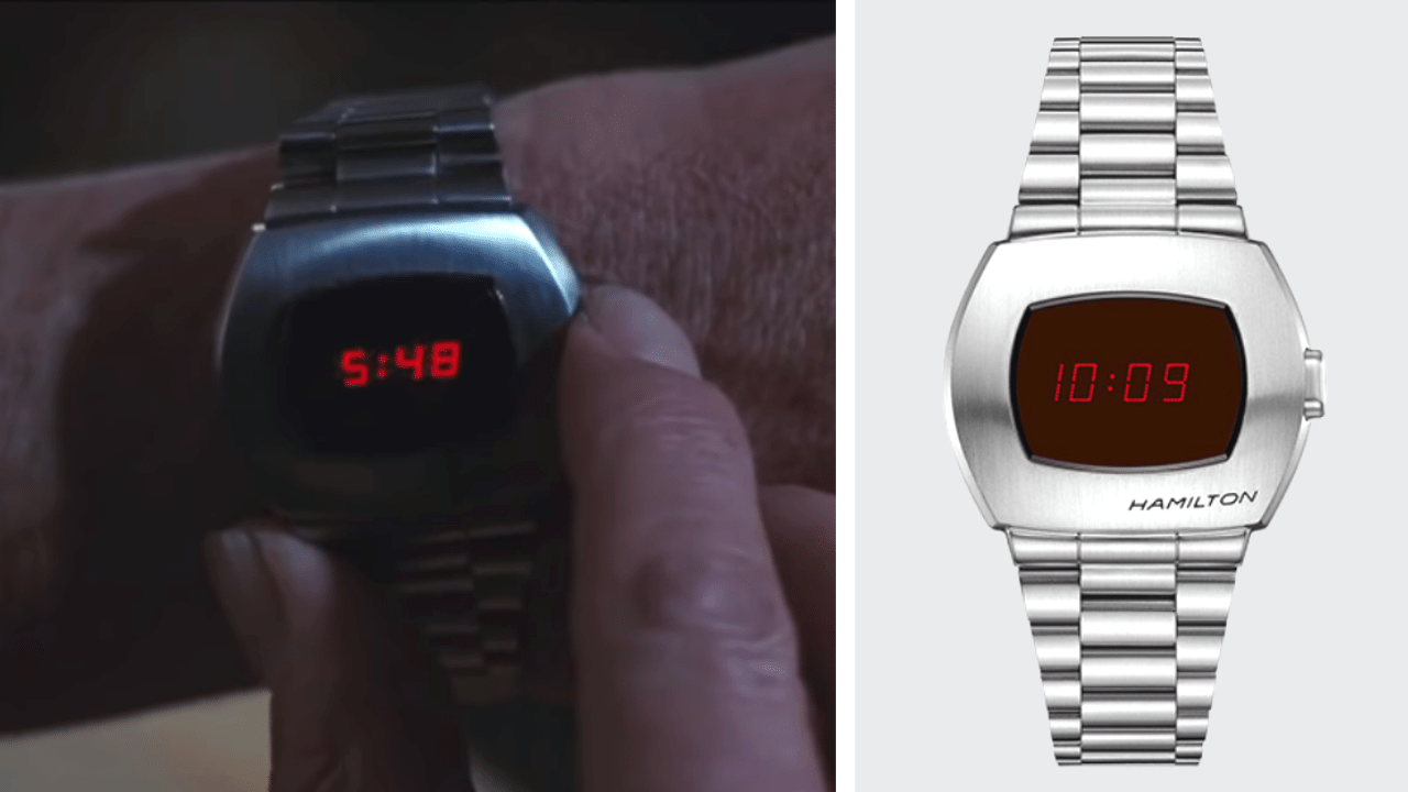 Two images. First image is James Bond using the pulsar watch to display the time. Second picture is of the pulsar watch.