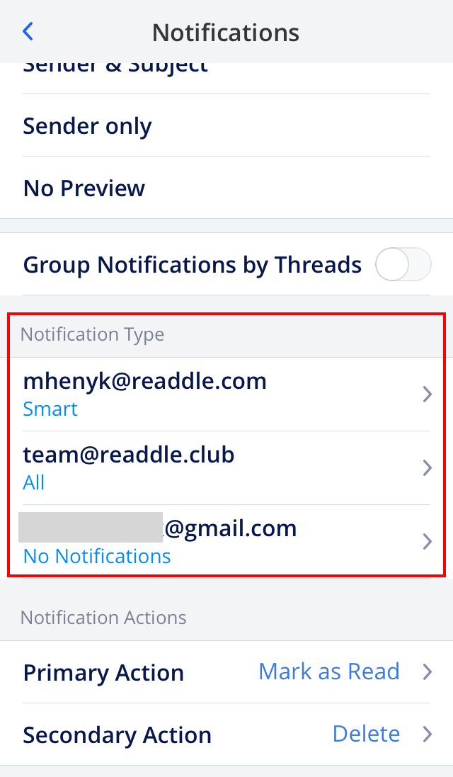 Types Of Email Accounts >> Customize Notifications Readdle Knowledge Base