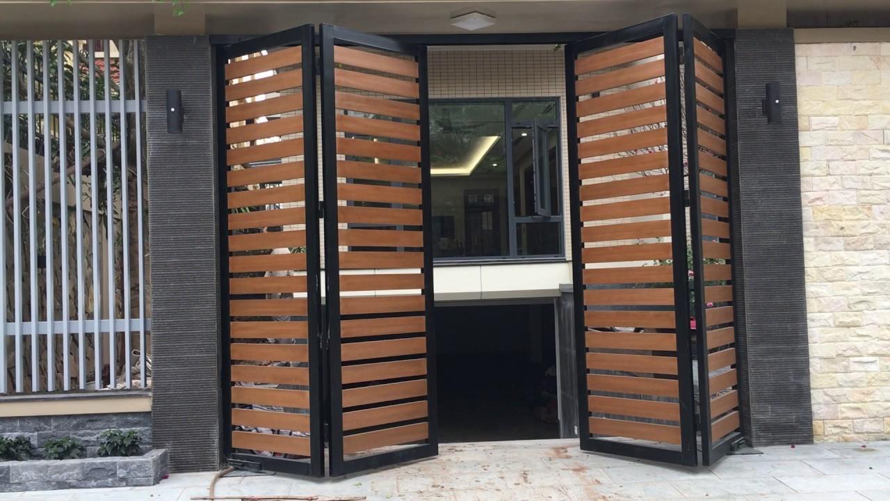 cổng mở tự động với thiết kế hiện đại