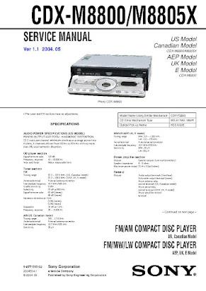 Sony Cdx M8805x Manual