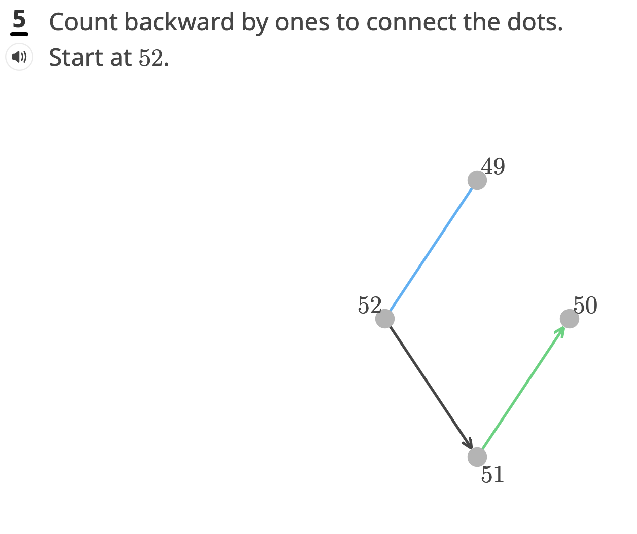 Sample problem showing a question where students connect the dots in order to count backwards from 52.