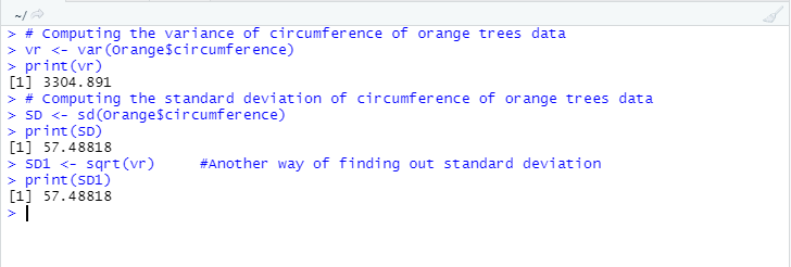 This image shows how the sd(), and var() function helps in finding out the standard deviation as well as the variance respectively for the given group of data.