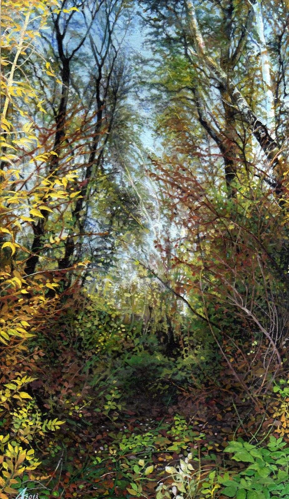 AUTUMN FOREST EDGE I - Miniatura, MMXIII - Tempera on carton - 5,51 X 3,54 in.jpg