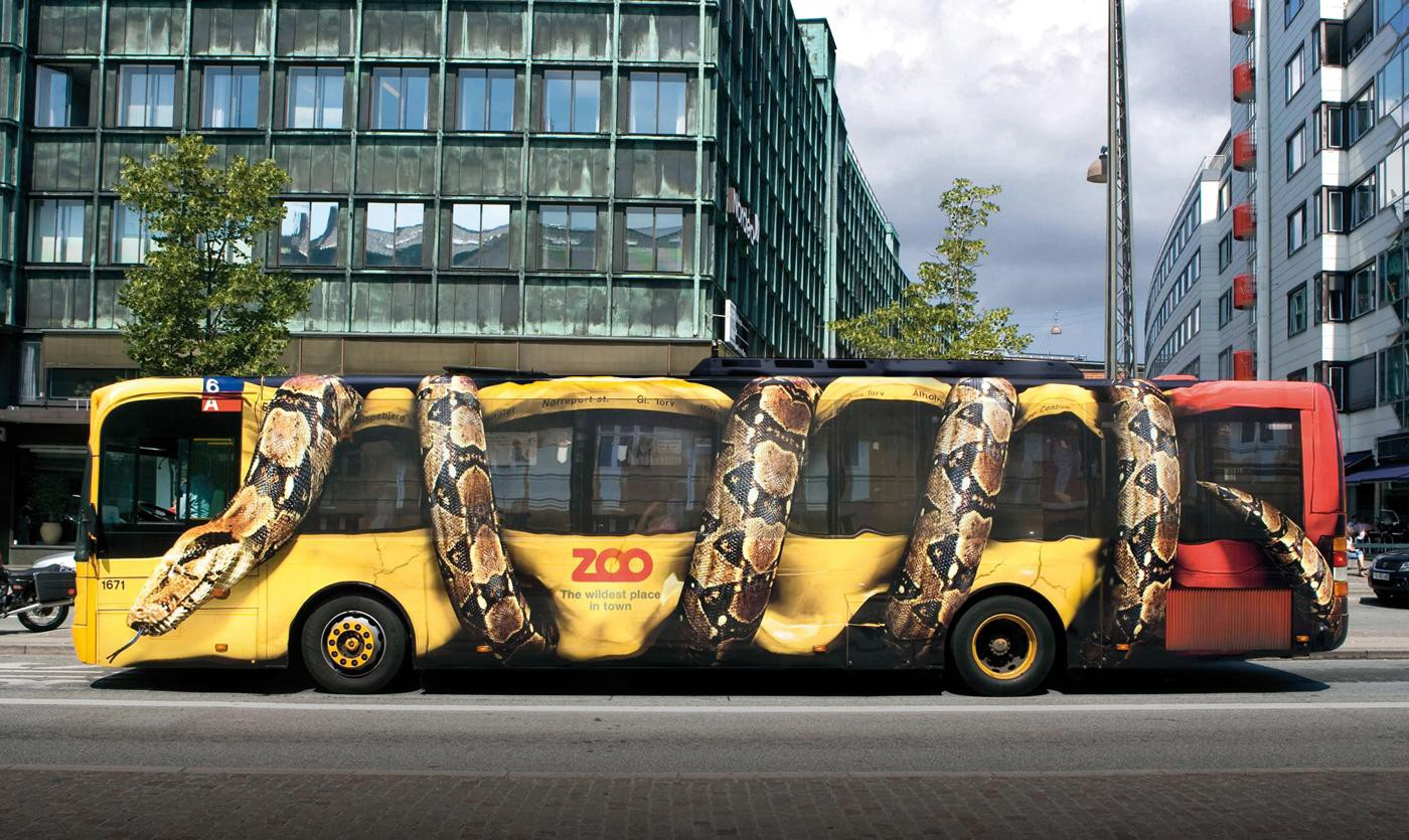 Wrapped bus advertising