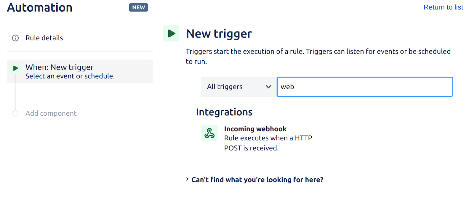 Jira's automation interface showing the webhook trigger