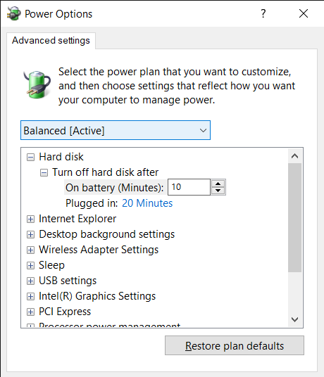 The Power options window to change the battery usage