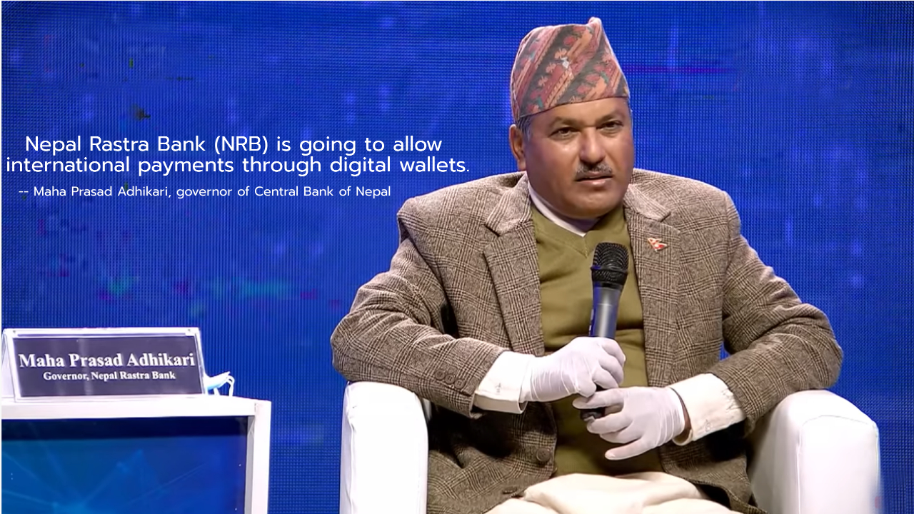 Governor Maha Prasad Adhikari announcing about international payment gateway in the Fonepay Digital Nepal Conclave in October, 2020